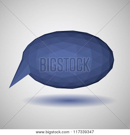 Blue Low Polygonal Speech Bubble Of Triangular Faces
