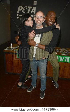 LOS ANGELES - JAN 30:  Jodi Lyn O'Keefe, Moby, John Salley at the PETA Superbowl Party at the PETA's Bob Barker Building on January 30, 2016 in Los Angeles, CA