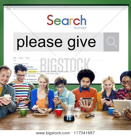 Please Give Donate Charity Funding Volunteer Concept