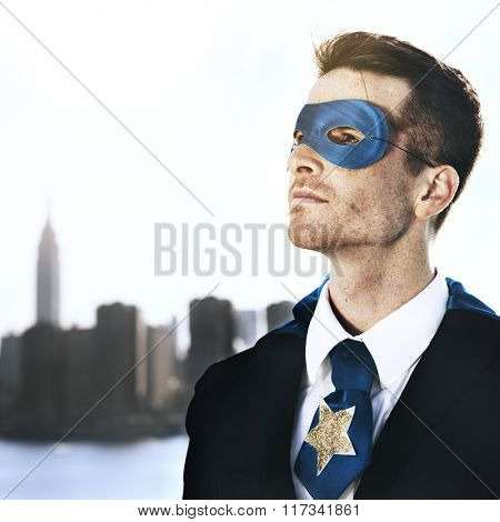 Professional Businessman Superhero Costume Leadership Concept