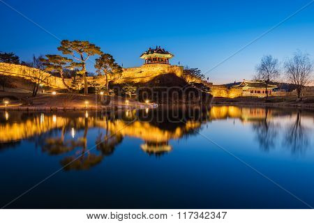 Korea,hwaseong Fortress, Traditional Architecture Of Korea In Suwon At Night, South Korea.
