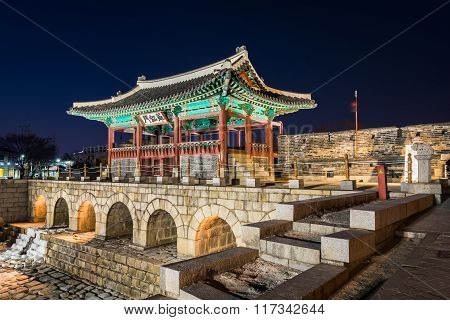 Korea,hwaseong Fortress, Traditional Architecture Of Korea In Suwon At Night.