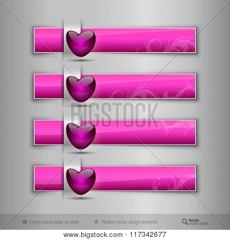 Black  Tabs With  Glossy Heart. Modern Vector Design Elements.