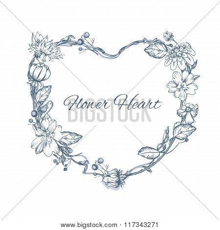 Floral element for wedding invitation cards.  Heart form. Flower vector design concept.