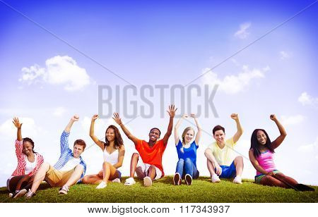 Group Friends Outdoors Celebration Winning Concept