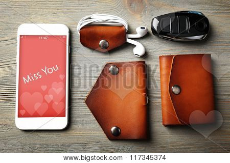 Hand made leather man accessories, phone with romantic screensaver