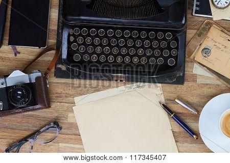 typewriter on table