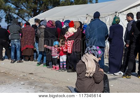 Hundreds Of Immigrants Are In A Wait At The Border Between Greece And Fyrom