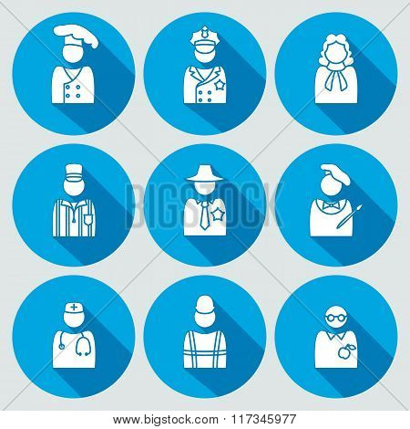 People profession icon set. Judge artist referee doctor teacher sherif cook worker policeman. Person