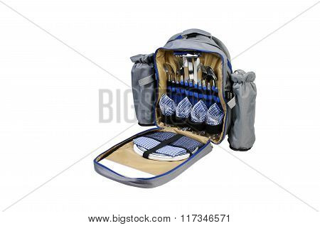 Picnic Set In Backpack Isolated On A White Background