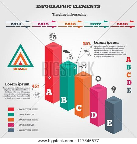 Infographics set. Rectangle columns. Prismatic solid. Perspective view. Timeline diagram, logo, icon