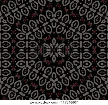 Seamless ornament silver gray red black