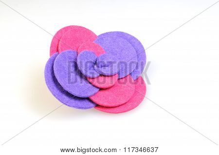 Felt Brooch. Handmade Stylish Flower Made Felt Isolated On A White