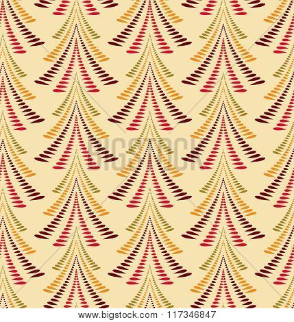 Seamless Christmas pattern. Stylized ornament of trees, firs on light background. Twist silhouettes