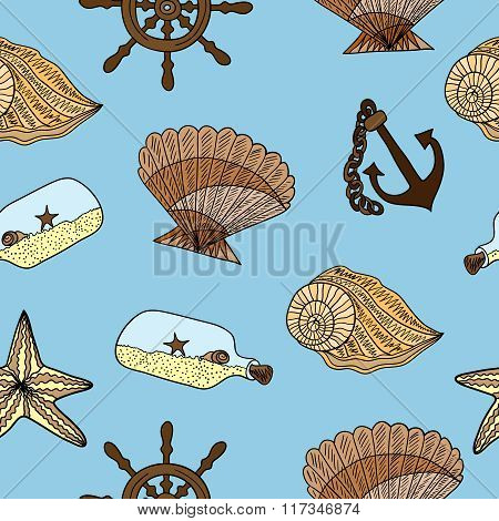 Seamless pattern with seashells, anchors, starfish