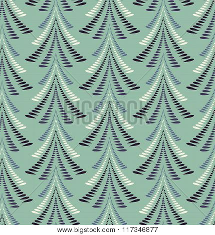 Seamless Christmas pattern. Stylized blue ornament of trees, firs on light background. Twist silhoue
