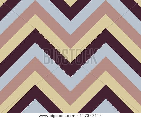 Striped, zigzagging seamless pattern. Zig-zag line texture. Stripy geometric background. Blue, brown