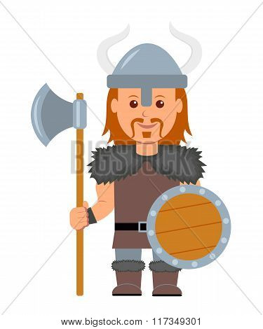 Viking. A man in a costume with a Viking ax and shield in hand. Isolated viking character on a white