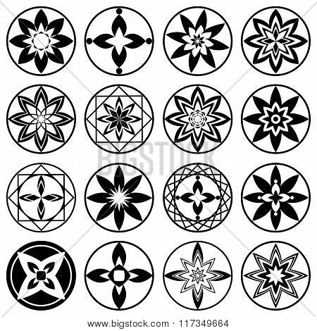 Floral ornament tattoo set. Flowers in star, aster sign of 4 and 8 rays. Black stylized ornaments, s