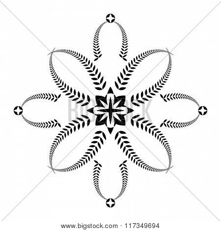 Laurel wreath tattoo. Black ornament. Cross sign on white background. Defense, peace, glory symbol.