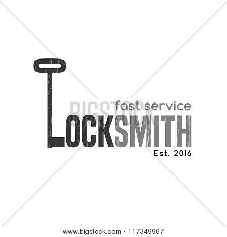Locksmith vector logo, icon. Key is shaping letter