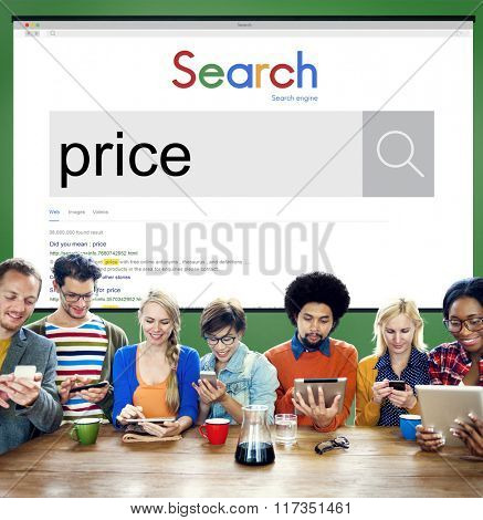 Price Cost Buying Selling Value Worth Commerce Concept