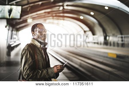 Platform Waiting Train Earphone Playlist Music Concept