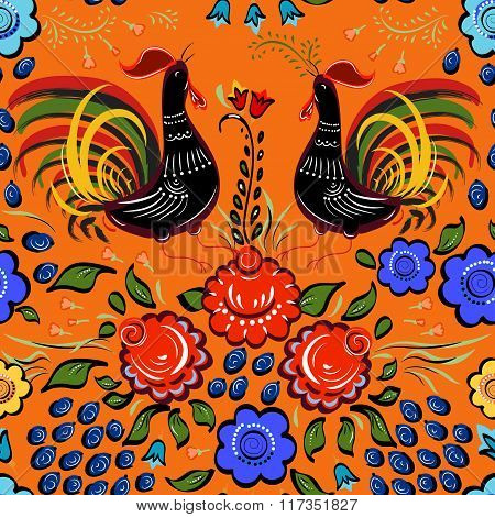 Seamless Folk Background.colorful Flowers And Leafs With Cocks On Orange Background.