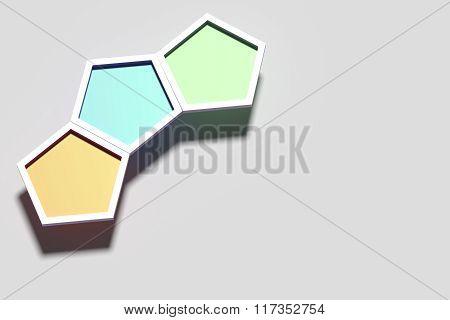 Three Colorful Three-dimensional Hexagons