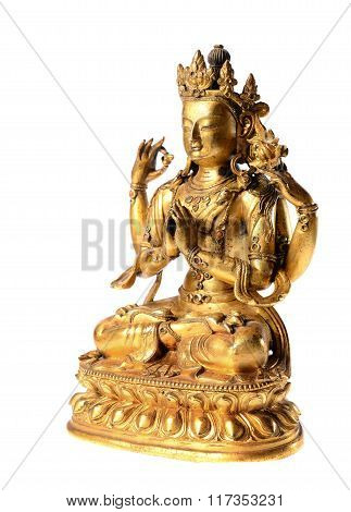 golden buddha statue isolated over white background