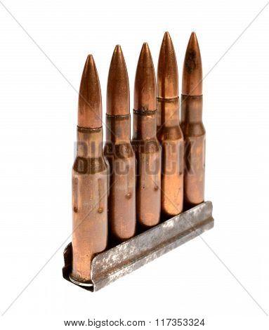 rifle ammunition bullets isolated over white background