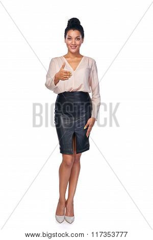 Business woman giving fake greeting