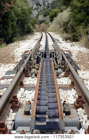 Cog Traction Transition System At Diakofto-kalavryta Railway