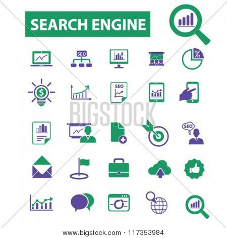 seo optimization  icons, signs vector concept set for infographics, mobile, website, application