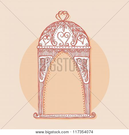 Design element for wedding greeting card. Vintage style, hand drawn