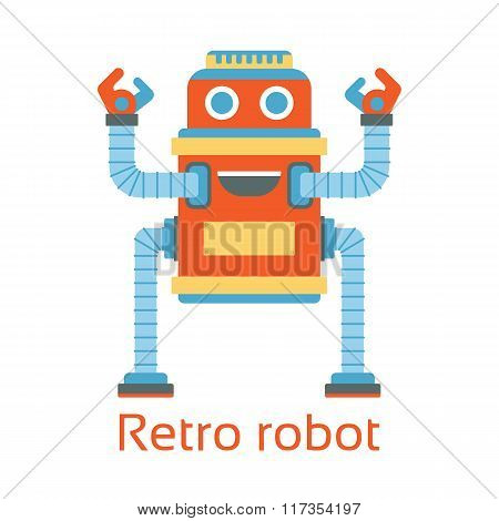 Retro robot. Vintage.