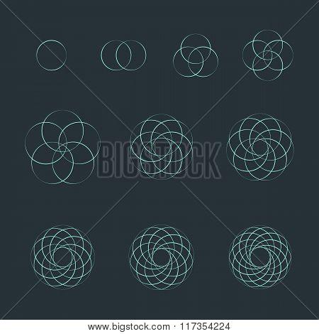 Circle Contour Various Sacred Geometry Set.