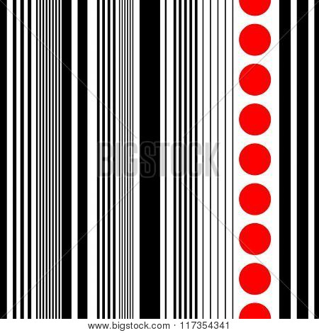 Seamless Vertical Stripe Pattern. Vector Black and Red  Background