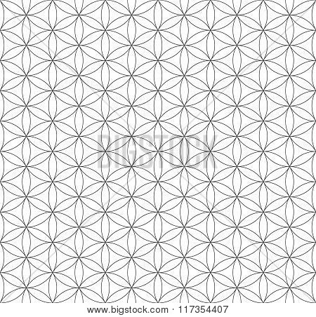 Black Outline Flower Of Life Sacred Geometry Pattern.