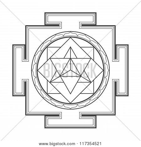 Monocrome Outline Merkaba Yantra Illustration.