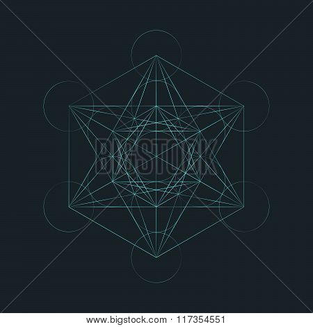 Monocrome Outline Sacred Metatron Cube Illustration.