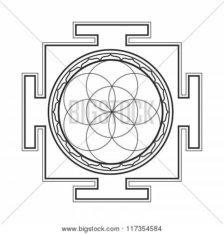 Monochrome Outline Seed Of Life Yantra Illustration.