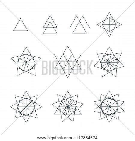 Triangle Contour Various Sacred Geometry Set.