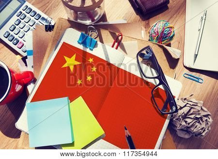 China Flag Stationery Office Desk Messy Concept
