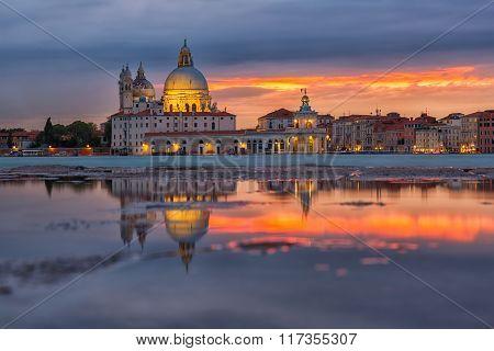 Santa Maria Della Salute Church On A Sunset, Venice, Italy