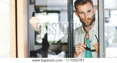 Man Hipster Break Casual Vision Cafe Relax Concept