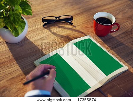Nigeria National Flag Studying Reading Book Concept