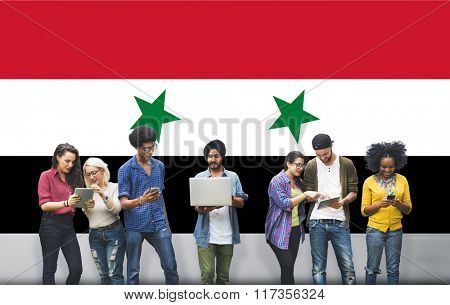 Syria National Flag Studying Diversity Students Concept