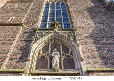 Statue Above The Entrance Of St Arnold Janssen Church, Goch