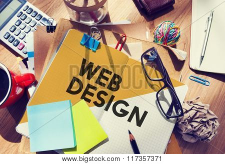 Stationary Office Desk Messy Web Design Creative Concept